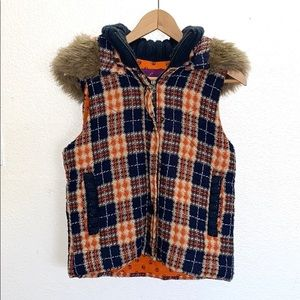 Jack by BB Dakota Plaid Orange and Blue Vest